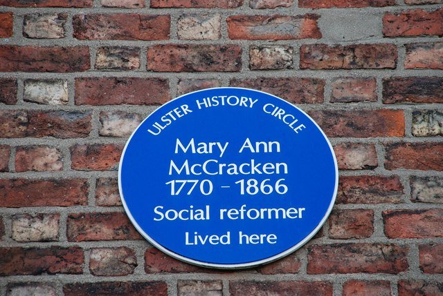 Ulster History Circle wall plaque commemorating Mary Ann McCracken