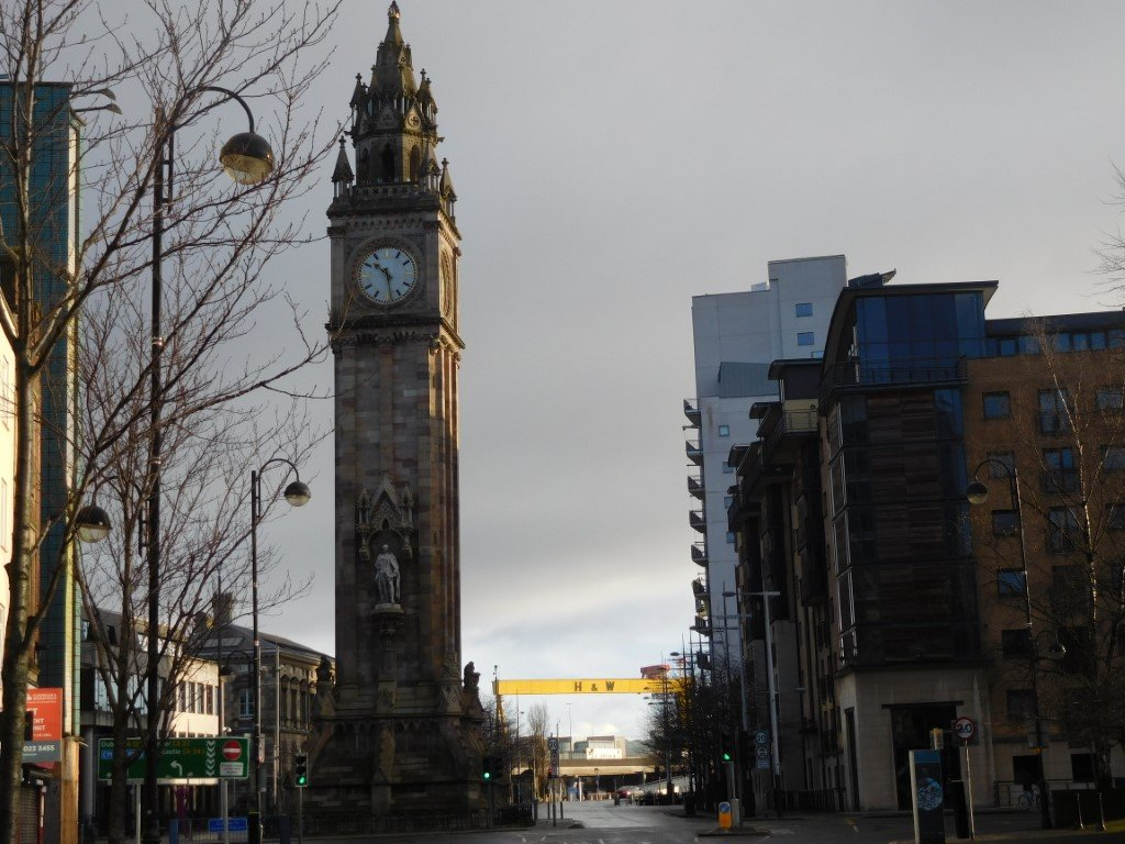 The Albert Memorial Clock, Belfast with the harbour in the background
