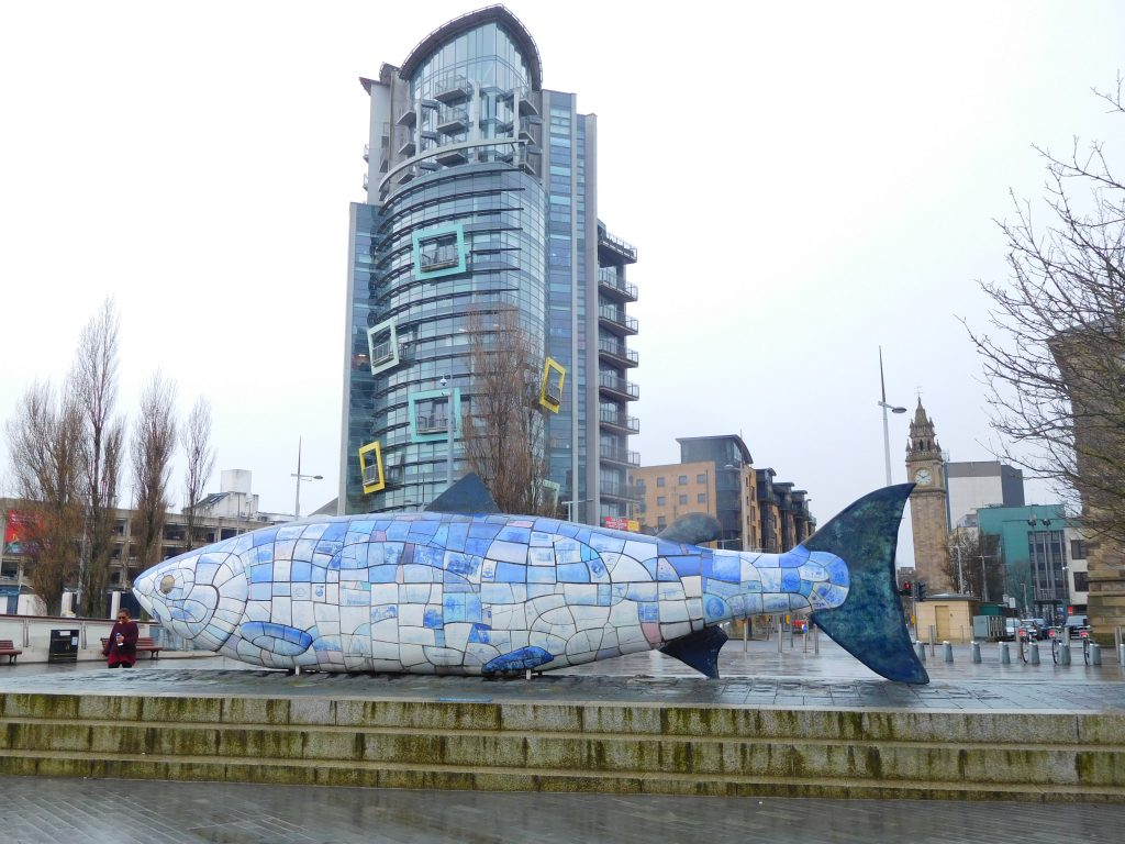 Big Fish - view with the Albert clock & the Boat apartments in background