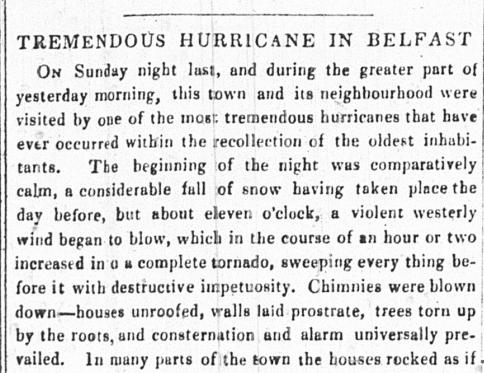 Belfast News Letter 8 Jan1839 - News of The Big Wind