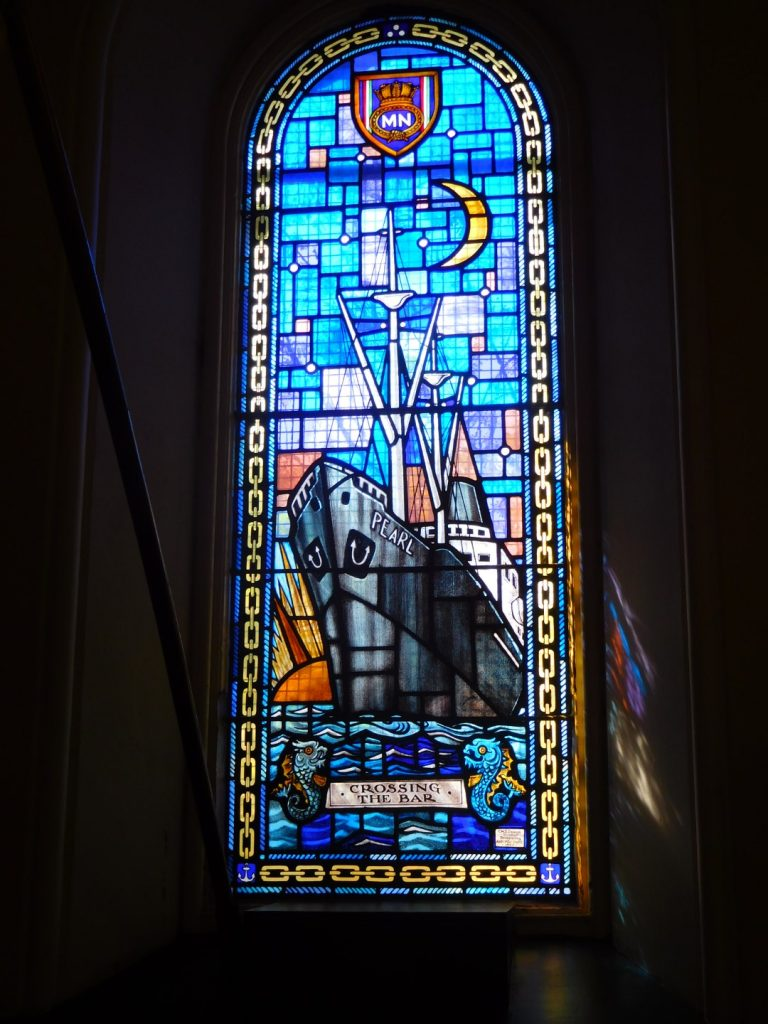 Ship-themed stained glass