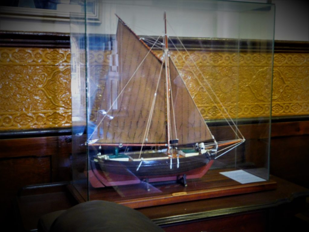 Model ship with William Morris wall motif