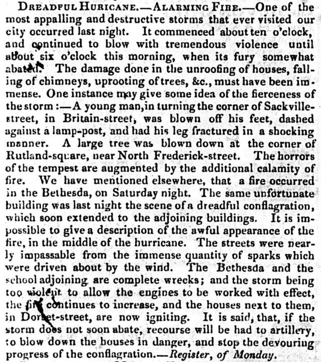 The Big Wind - Northern Whig 10 Jan 1839