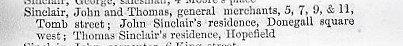 Sinclair in Belfast Street Directory 1850