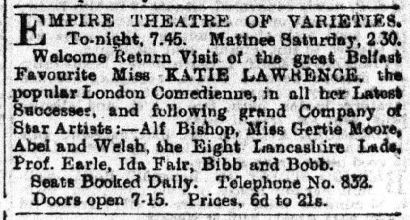 Charlie Chaplin - The 8 Lancashire Lads at The Empire 26-11-1900 Belfast Telegraph
