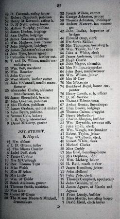 Joy Street - First Inhabitants in Belfast Street Directory 1842-43