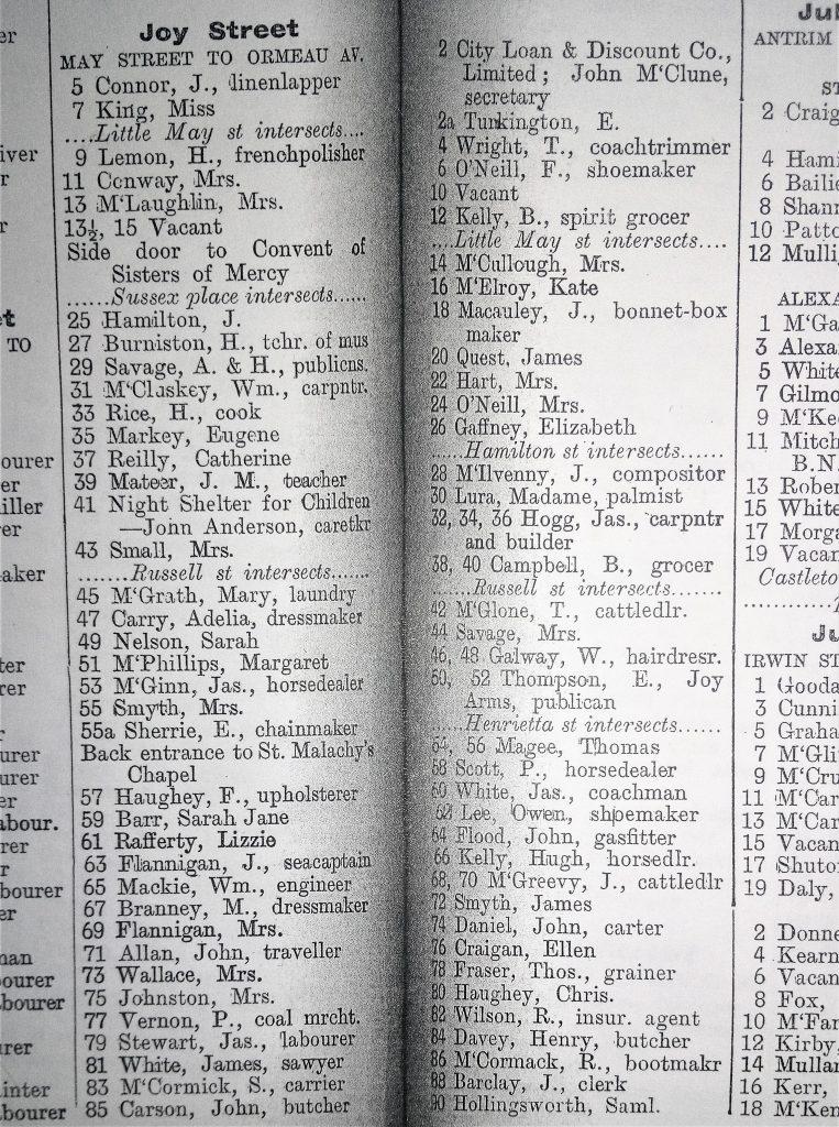 Joy Street residents - Belfast Street Directory 1900