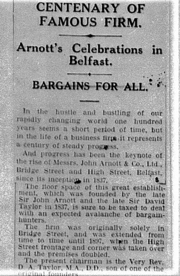 Article Northern Whig and Belfast Post - 3rd February 1937