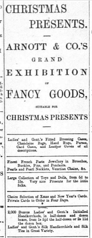 Arnotts Advert Belfast Newsletter Dec 6th 1901