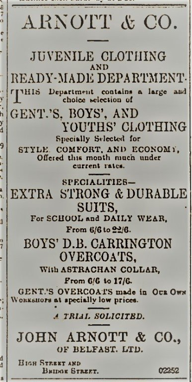Arnotts Advert Belfast Telegraph 18th Dec 1899
