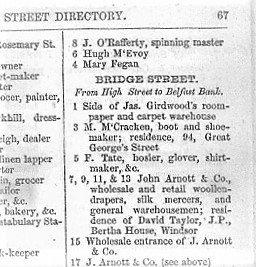 Arnotts on Bridge Street - Street Directory 1865-66