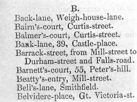Bell's Lane in Martin's Directory 1839