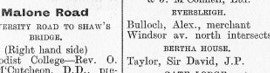Bertha House Listed on Malone Road - Street Directory 1894
