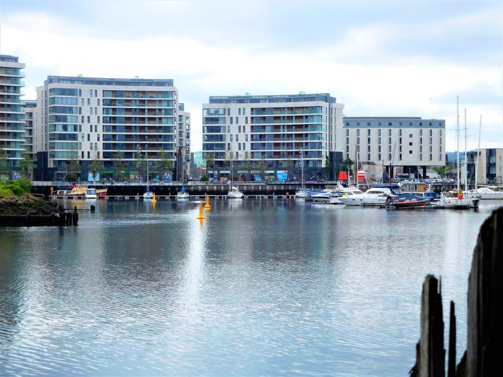 Views over Belfast Marina on the other side