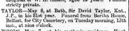 David Taylor Death Notice - Newsletter 9th May 1896