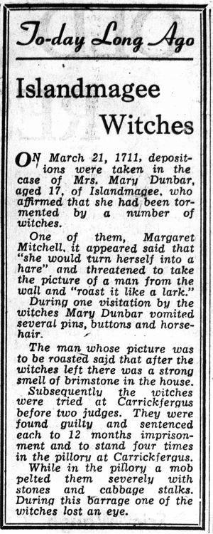 Islandmagee Witches Belfast Telegraph 31 Mar 1957