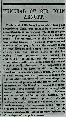 John Arnott's Funeral - Irish Times 1st April 1898