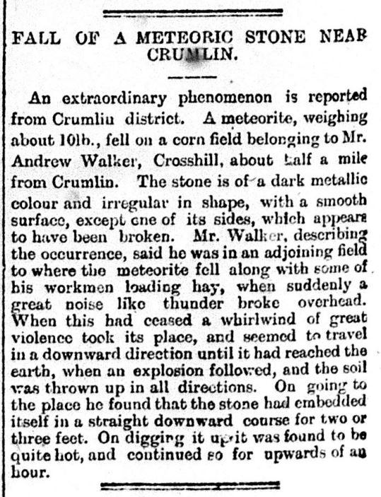 Northern Whig Account of Crumlin Meteor 17 09 1902