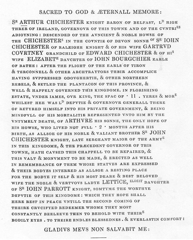 Sir Arthur Chichester Inscription