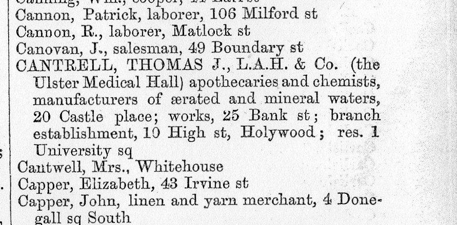 Belfast Street Directory 1870