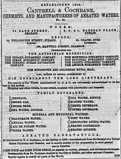 Cantrell & Cochrane Advert Belfast Telegraph 5th September 1871