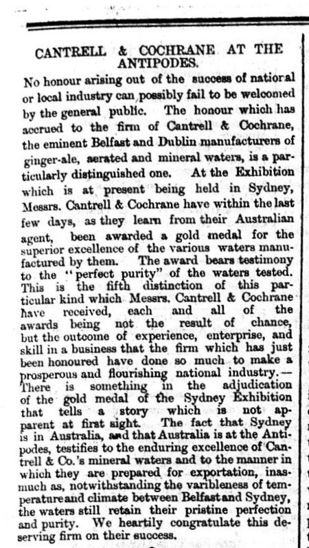Cantrell & Cochrane at the Antipodes - Belfast Morning News 23rd April 1880