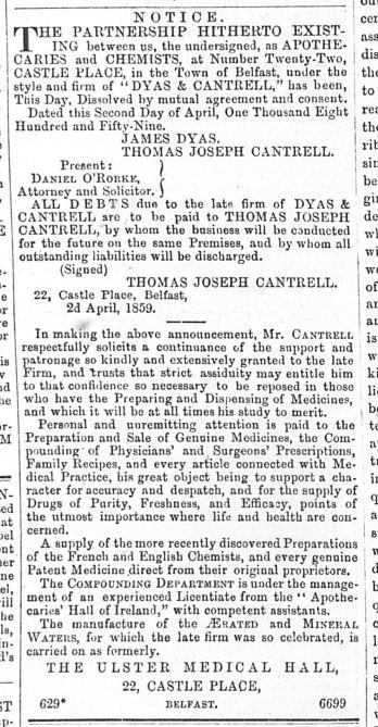 The Dissolution of Dyas & Cantrell 1859 - Northern Whig 11th April 1859